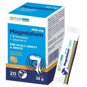 Magnézium 400 mg + B komplex + vitamín C, 20 vrecúšok