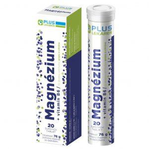 Magnézium + Vitamín B6 s príchuťou grepu a citróna, 20 šumivých tabliet