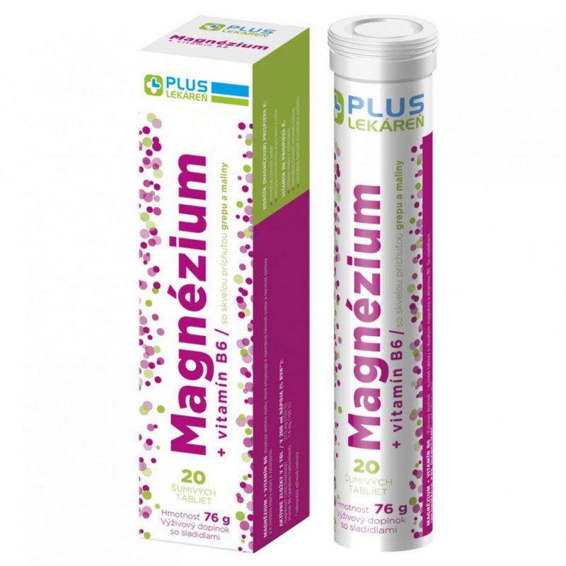 Magnézium + Vitamín B6 20 eff s príchuťou grepu a maliny