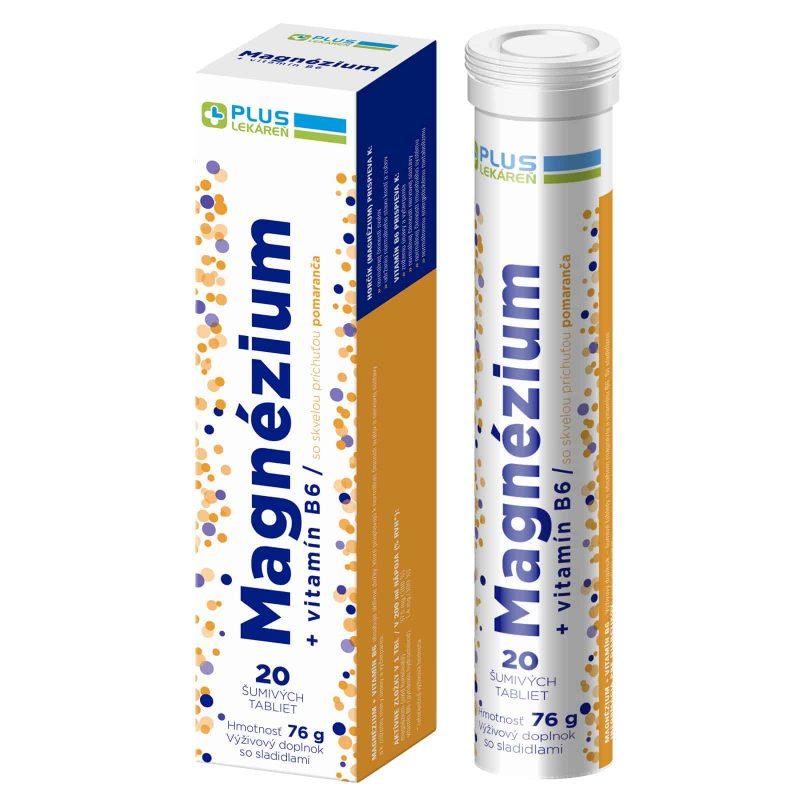 Magnézium + Vitamín B6 s príchuťou pomaranča, 20 šumivých tabliet